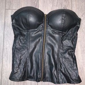 Zip Up Corset-like Faux Leather Top